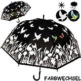 alles-meine.de GmbH großer XL _ Automatik - Regenschirm - Farbwechsel bei Regen - Ø 120 cm - Blumen & Schmetterlinge - Erwachsene & Kinder - 2 Personen - groß / Automatikregensch..