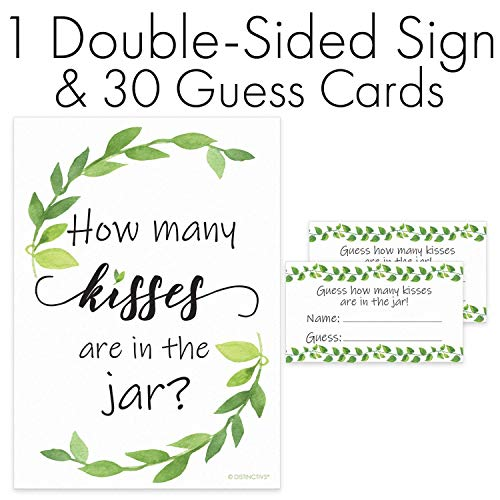 How Many Kisses Game - Greenery Theme (Sign with Cards)