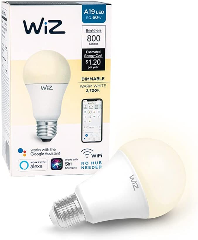 WiZ IZ0026021-2 60 Watt EQ A19 Smart WiFi Connected LED Light Bulbs/Compatible with Alexa and Google Home, no Hub Required, Dimmable Soft White, 2 Piece