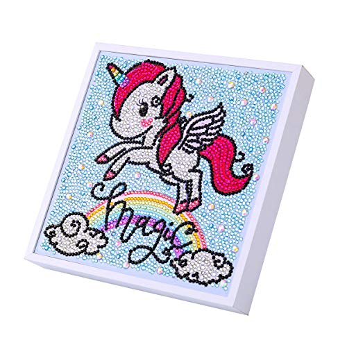 Diamond Painting by Number Kits for Kids Magic Rainbow Unicorn Crystal Rhinestone Diamond Embroidery Paintings Pictures Arts Craft with Framed 8x8