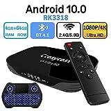 Android TV Box 10.0 4GB RAM 64GB ROM Set Top Box Smart TV Box RK3318 USB 3.0 1080P Ultra HD 4K HDR Dual Band WiFi 2.4GHz 5.8GHz BT 4.1 Streaming Media Player with Mini Wireless Backlit Keyboard