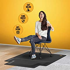 👣 YOUR FEET SAY THANK YOU 👣 - Combat the harmful effects of incorrect posture while working in an office or from home. Perfect your posture while sitting or standing using the benefits of Mushyn office chair mat with anti-fatigue footrest. Your new c...