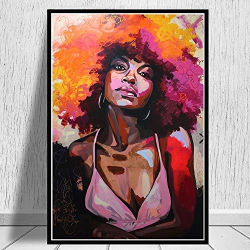 wZUN Cuadro de Retrato de Mujer Africana con Acuarela Abstracta, Impresiones artsticas en Lienzo y Pintura de pster, decoracin para la Sala de Estar, 60X90CM