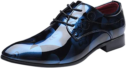 Pu Leather Glossy British Style Print Pointed Modern Trend Men's Formal Oxfords Toe Bright Lace Up Wedding Shoes Business Dinner Party Leisure Casual Slip-Ons