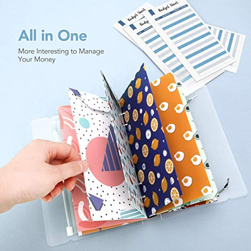 Cash Envelope System, Hommie All-in-One Cash Envelop Wallet with 12 Waterproof Money Budget Envelopes, 24 Blank Labels, 24 Rainbow Labels, and 1 Binder Note