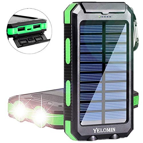 Solar Charger,Yelomin 20000mAh Portable Outdoor Waterproof Mobile Power Bank,Camping Travel External Backup Battery Pack Dual USB 5V Outputs 2 LED Light Flashlight with Compass