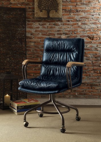 Major-Q Vintage Blue Top Grain Leather 5-Star Base Executive Office Chair with Casters and Metal Frame Armrests,