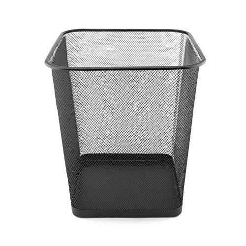 D.RECT Papierkorb aus Drahtgeflecht | Abfalleimer | Drahteimer | Büro Mülleimer | Papiereimer, Büroeimer Mesh eckig 18L schwarz