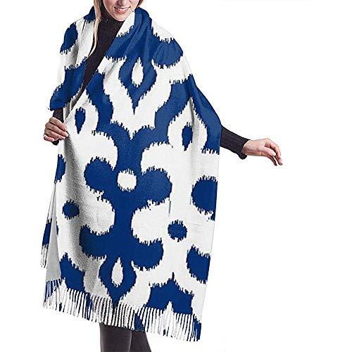 Marokkaanse Ikat Damask kobalt blauw en wit imiteren kasjmier voelen winter sjaal Pashmina sjaal wraps zachte warme deken sjaals elegante wrap voor vrouwen 27 x 78 inch