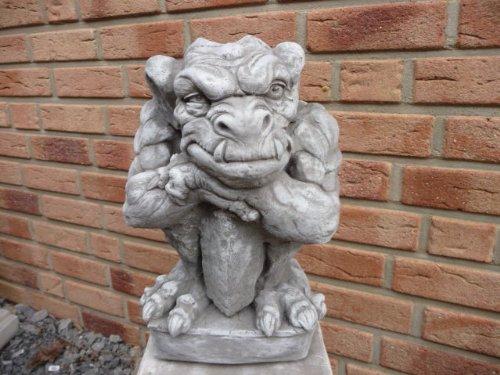 Gartenfigur Gargoyle Figur Steinfigur für Garten Deko Teich Fantasiefigur Steinfiguren