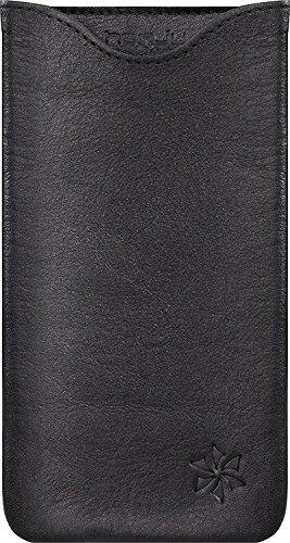 honju FIT Echtledertasche für das OnePlus 5 - schwarz [Handarbeit | Rindsleder | Mikrofaserinnenfutter] - HFOP5