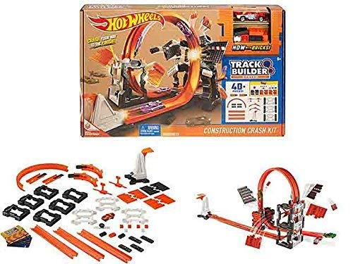 Hot Wheels DWW96 Track Builder Construction Kit, Connectable Loops and Tracks and Mini Toy Car with Track Set