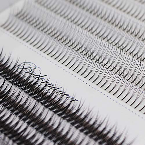 1Tray,Mixed 3D Premade Fans and Fishtail Design Volume Eye Lashes Extensions Grafting Beauty Nature Long Individual Fake False Eyelashes Black Soft and Light Cluster Lashes Mix Size (mix size)