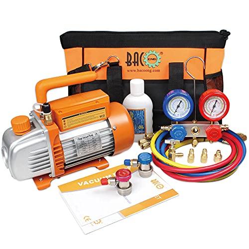 BACOENG Complete AC Repair Tool Kit for Mini Split/HVAC/AUTO with Tool Bag - Includes 3.6CFM Vacuum Pump, 800PSI Manifold Gauge Kit