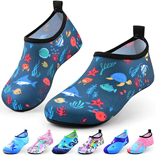 Sunnywoo Water Shoes for Kids Girls Boys,Toddler Kids Swim Water Shoes Quick Dry Non-Slip Water Skin Barefoot Sports Shoes AquaSocks for Beach Outdoor Sports,1-2 Little Kid,Sea World-b