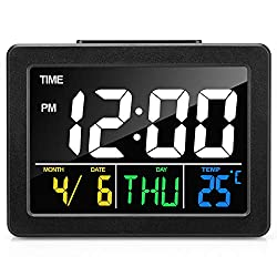 Digital Alarm Clock for Bedrooms, LED Display Desk Clock with USB Port, Batteries Included, Snooze Function, Timer, LED Sound Control, Indoor Temperature