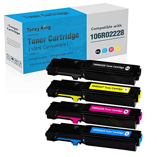 Compatible Toner Cartridge Replacement for Xerox Phaser 6600 & WorkCentre 6605 Printer Ink - High Yield 6,000 Pages - 106R02228 106R02225 106R02226 106R02227 Toner Cartridges (4-Pack) by Toney King