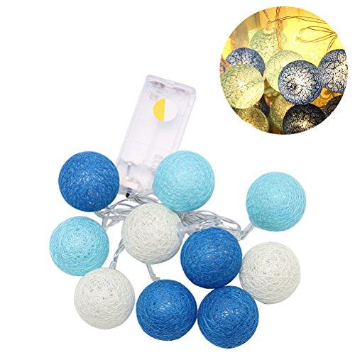 LEDMOMO 1,2 m - 10 LED - Guirlande de boules de coton - Guirlande de fées - Pour décoration de jardin - Blanc chaud et bleu