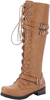 Knee High Boots Women Shoes, 60S Winter Motorbike Chukka Horse Riding Desert Tactical Martin Goth Flat Heel Platform Lace Up Zip Mid Cap Size 3-7 (Color : Yellow, Size : 6 UK)