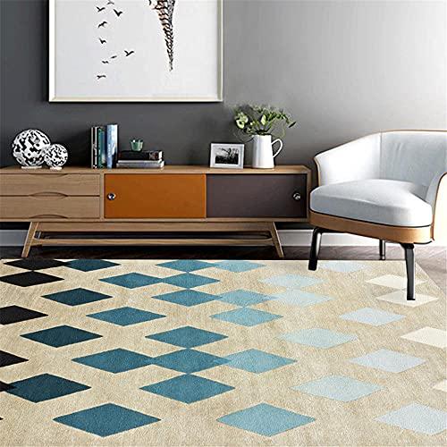 Xiaosua Decorar habitacion Azul Alfombra salón Azul prismático Simple Suave Alfombra Antideslizante alfombras Lavables 200x240cm cojin Suelo Grande 6ft 6.7''X7ft 10.5''