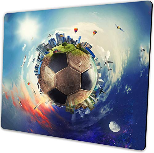 Rectangle Gaming Mousepad Cool Soccer Ball Art Amazing Football World Mouse Pad for Computer Desk Laptop Office 9.5 X 7.9x0.12 Inch Non-Slip Rubber