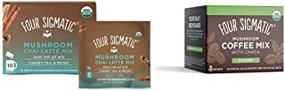 Four Sigmatic Chai Latte, Organic Instant Chai Latte with Turkey Tail, 10 Count & Four Sigmatic Mushroom Coffee, Organic I...