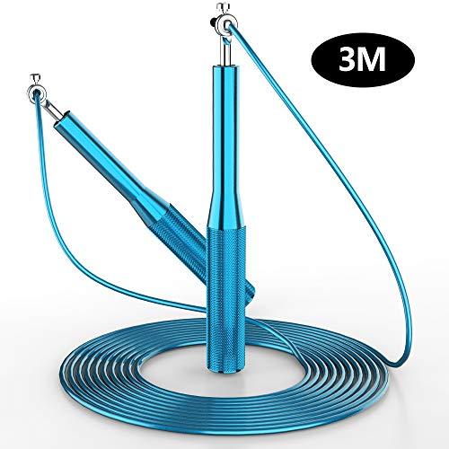 GeeRic Cuerda para Saltar, 3M Velocidad de Aluminio Comba Saltar Crossfit Rodamiento Ligero Longitud Ajustable Hombre Mujer Niños Combas de Fitness Actividades en el Interior