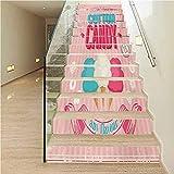 Pegatinas para escaleras, decoración del hogar, diseño retro abstracto grunge con cubos geométricos en el interior, para paredes de cocina, escaleras, decoración del hogar,, Color08, 7.08' x 43.3'