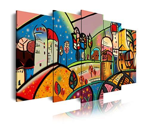 DekoArte 501 - Cuadros Modernos Impresión de Imagen Artística Digitalizada | Lienzo Decorativo para Tu Salón o Dormitorio | Estilo Abstractos Arte Moderno Naif Casas | 5 Piezas 150 x 80 cm