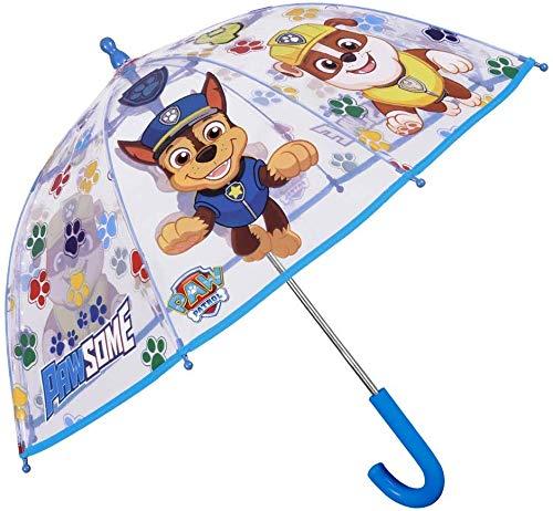 Paw Patrol Regenschirm Transparent Blau Rot - Durchsichtig Kinderschirm Marshall Chase Rubble Skye - Schirm Windfest Sturmsicher 3/6 Jahren - Kinder Sicherheitsöffnung - Durchmesser 64 cm