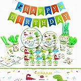 Herefun 124 pcs Cumpleaños De Dinosaurio Suministros De Fiesta, Niños Decoracion Suministros de Fiesta Dinosaurios Cumpleaños Platos, Banner Decor Servilletas Dinosaurio