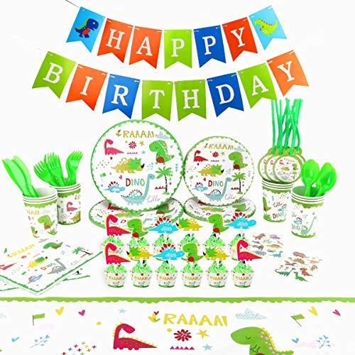 Herefun 124 pcs Cumpleaños De Dinosaurio Suministros De Fiesta, Niños Decoracion Suministros...
