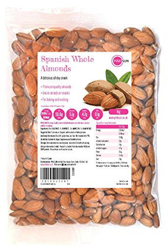 PINK SUN Almendras Enteras Crudas 1kg Con Piel Español No tostado Sin Sal Natural Pieles 1000g a Granel Frutos Secos Sin Cáscara - Raw Whole Almonds Spanish Nuts Unsalted Bulk