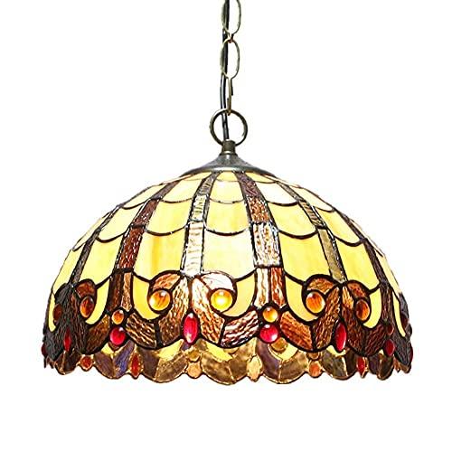 XBR Globe Lámpara Colgante Lámpara de Techo Estilo de luz Colgante Ing, E27 Vitral Pantalla D: 11.8 Pulgadas Ing Accesorios para Sala de Estar Comedor Cocina, D: 30Cm