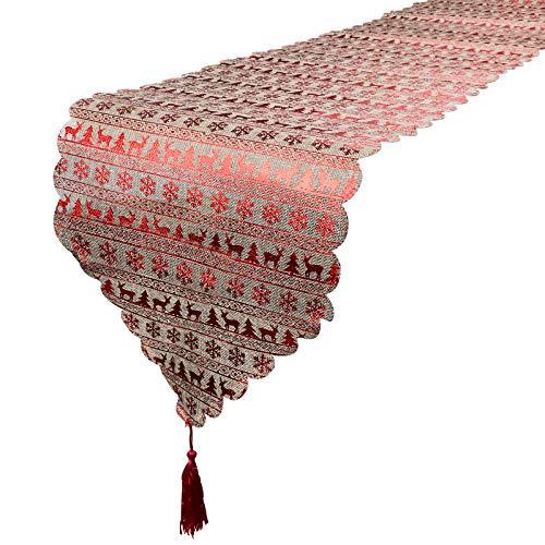 BHGT Camino de Mesa Navideño 180 * 35cm Arpillera Decoración de Navidad Corredor de Mesa Tapete Adorno Color Rojo Lino