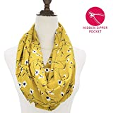 Infinity Scarfs for Women, Girls, Ladies, Travel Scarf Lightweight Wrap Infinity Scarf with Hidden Pocket Flowers Print Womens Scarves