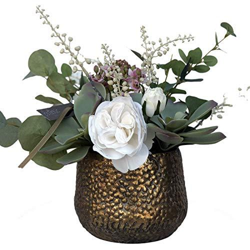 BOTANIC DESSIGN Künstlicher Blumenstrauß mit Vase inklusive Sukkulenten in grauem Farbton, Eukalyptusstiele grün trancheliumblume in rosa und kosmelierten Blumen in weiß