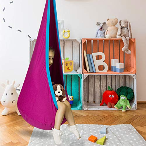 C-CHAIN Swing Pod Chair for Kids 100% Cotton Hammock Chair with Durable Air Cushion, Child Swing Seat Nest with Adjustable Rope, All Accessories Included (Rose)