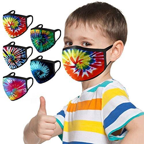 5/10PC Children Plain Color Fashion Tie Dye Face Bandanas Washable Reusable Facewear for Kids Boy Girl (5PC,MulticolorA)