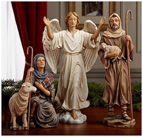 Shepherds, Sheep and Angel 14 inch Christmas Nativity Set