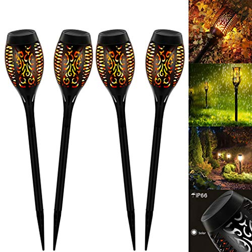MINI Solar Flammenlicht, Swonuk 4 Stück 12-Led Solarleuchte Garten IP65 Wasserdicht Solarlampe Gartenfackeln mit Realistischen Flammen Automatische EIN/Aus Außen Warmlicht