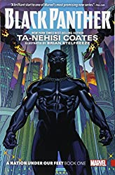Black Panther book cover, with the Black Panther standing against a cityscape