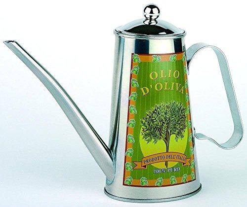 APS 40305 Kännchen für Olivenöl, 22 x 6,8cm, H: 17cm, aus Edelstahl, mit abnehmbarem Deckel 0,5 Liter