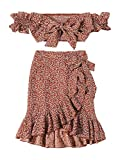 MakeMeChic Women's Two Piece Floral Knot Shirred Bardot Top and Ruffle Wrap Skirt Set Rust M