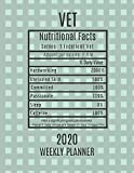 Vet Weekly Planner 2020 - Nutritional Facts: Vet Gift Idea For Men & Women | Weekly Planner Appointment Book Agenda Nutritional Info | To Do List & Notes Sections | Calendar Views