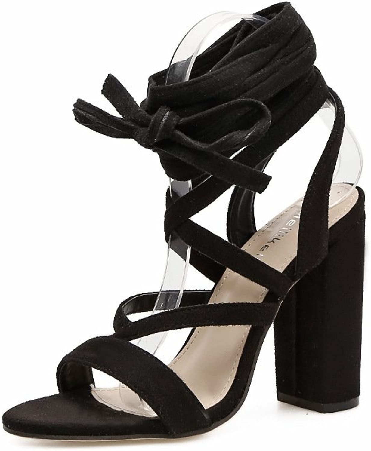 The Stylish high-Heel Sandals Satin Cross Straps Sexy Stylish Thick with high-Heeled Sandals