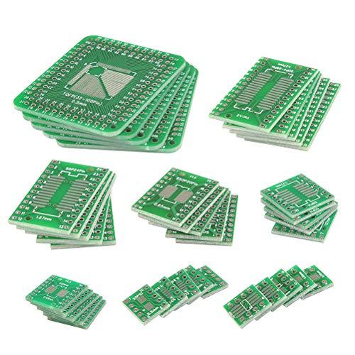 QLOUNI 40 Stück Doppelseitig Lochrasterplatte Kit, PCB-Patch Board Transferbrett mit 8 Module (SOP8, SOP14, SOP16, SOP20, SOP24, SOP28, SOT23, TQFP) - Lochrasterplatine Leiterplatte Konverter