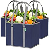 Reusable Grocery Shopping Box Bags (3 Pack - Blue/Gray). Large, Premium Quality Heavy Duty Tote Set with Extra Long Handles & Reinforced Bottom. Folding, Collapsible, Durable and Eco Friendly