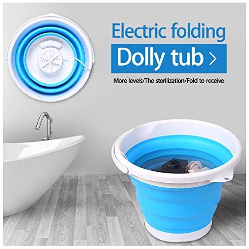 Mini Waschmaschinen, Reisewaschmaschine, Camping Mobile Waschmaschine, 2 in 1 Eimer Turbo Waschmaschine Klein mit Faltbarer USB, 1 kg Last (Blau)