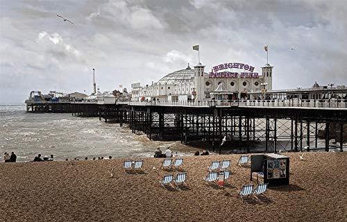 HQHff Brighton Inglaterra Sussex Sea Pier,Puzzles Adultos 1000 Piezas 75x50cm,3D Puzzles de Madera Adultos Regalo de Juguete Educativo para niños